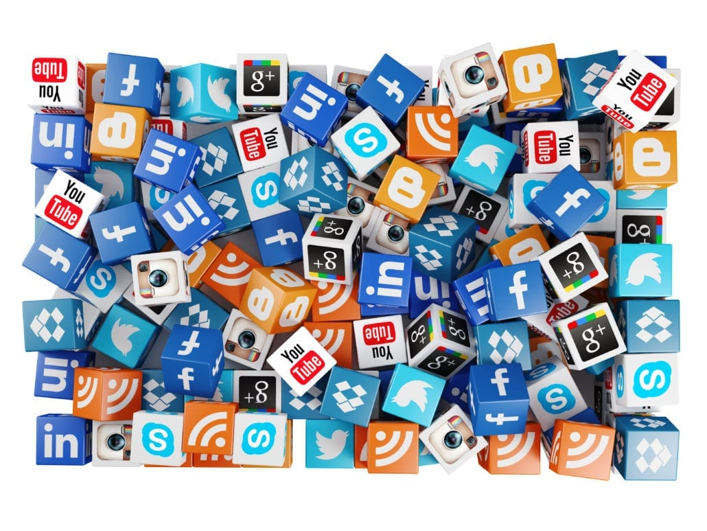 Social media icons background 3d box rendering.