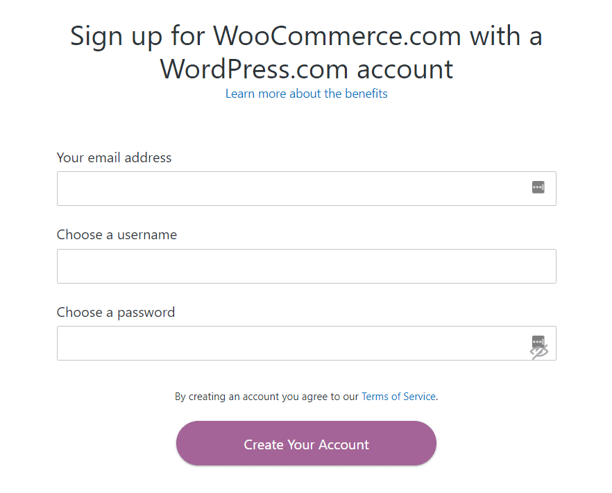 WooCommerce and WordPress sign-up example